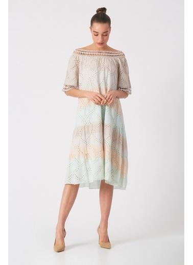 Robin Işlemeli Batik Elbise Bej Bej